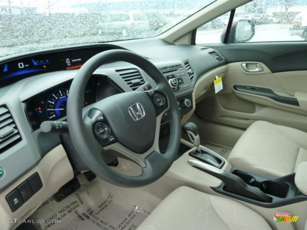 Beige Interior 2012 Honda Civic LX Sedan Photo #58532781