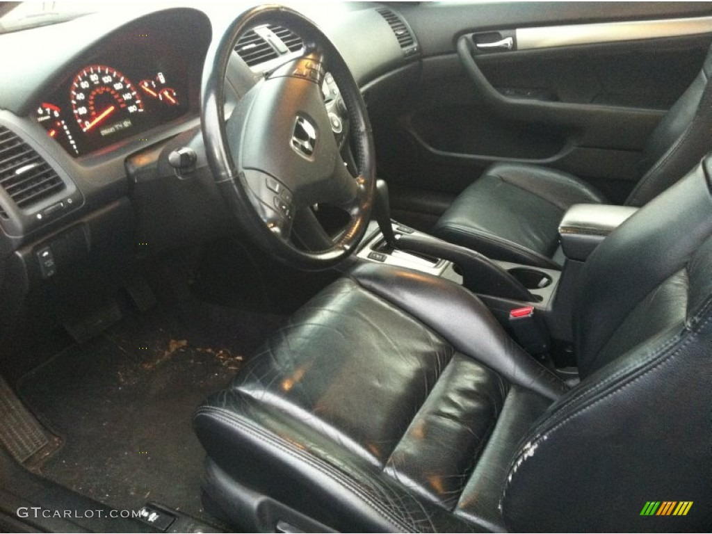Black Interior 2004 Honda Accord EX L Coupe Photo #58593144