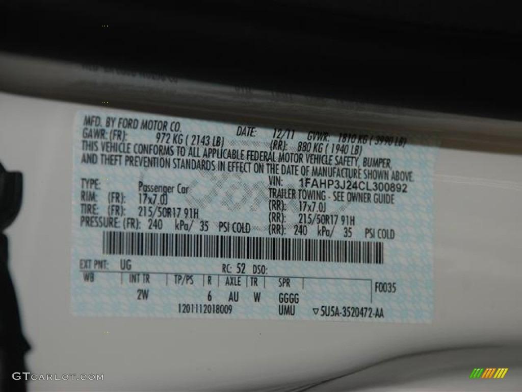 2012 Focus Titanium Sedan - White Platinum Tricoat Metallic / Charcoal Black photo #22