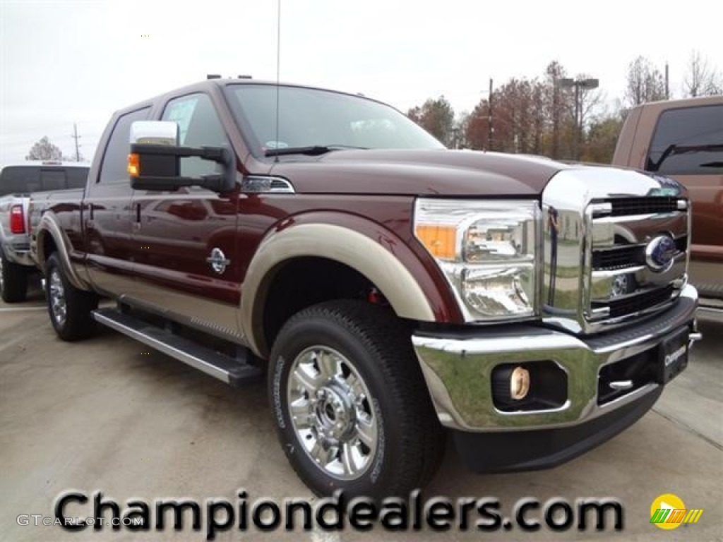 2012 F250 Super Duty Lariat Crew Cab 4x4 - Autumn Red Metallic / Adobe photo #1