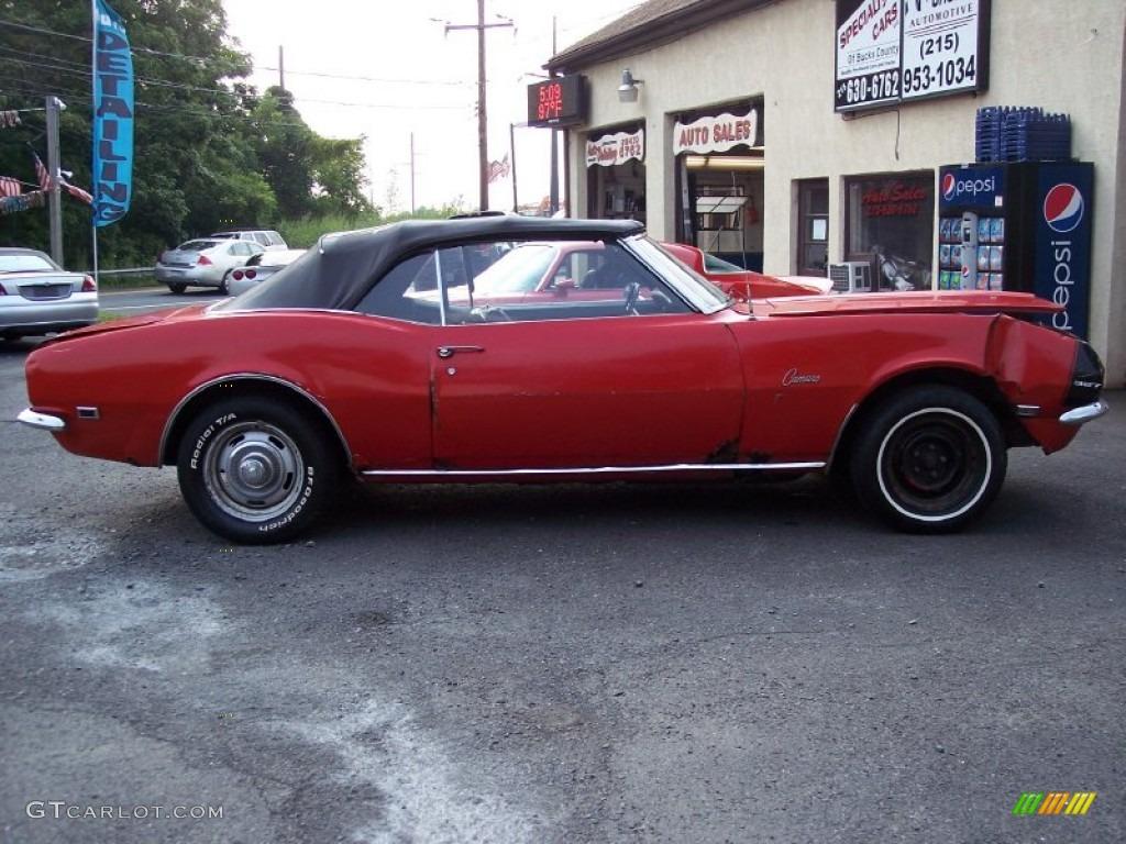 1968 Red Chevrolet Camaro Convertible 59026130 Car Black Photo 1