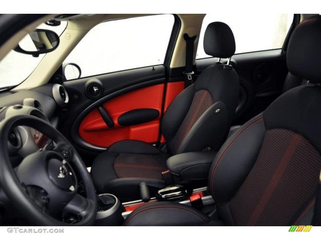 Pure Red Leather Cloth Interior 2011 Mini Cooper S