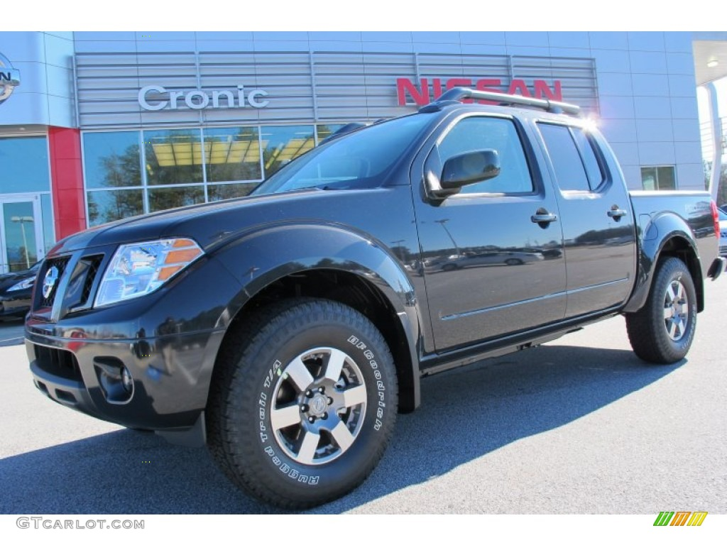 2012 night armor metallic nissan frontier pro 4x crew cab 4x4 59054089 car. Black Bedroom Furniture Sets. Home Design Ideas