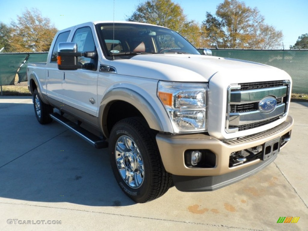 2012 F250 Super Duty King Ranch Crew Cab 4x4 - White Platinum Metallic Tri-Coat / Chaparral Leather photo #1