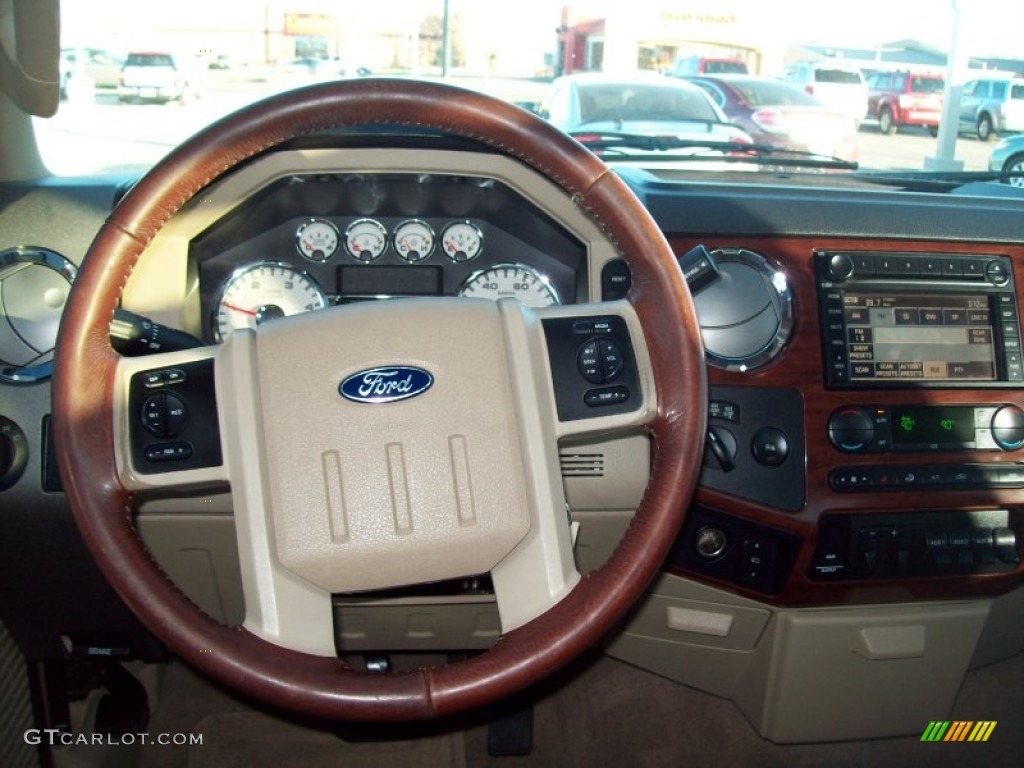 2008 Ford F250 Super Duty King Ranch Crew Cab 4x4 Camel Chaparral Leather Steering Wheel Photo