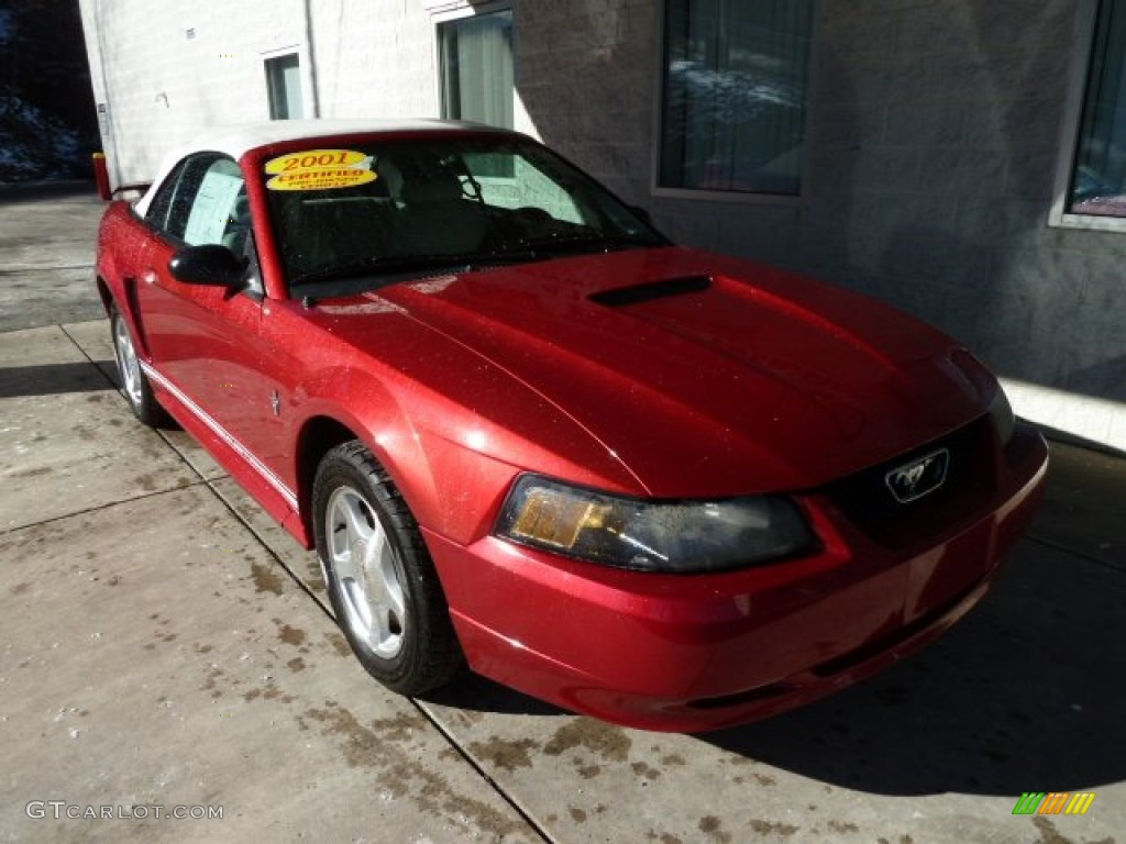 2001 Mustang V6 Convertible - Laser Red Metallic / Oxford White photo #6
