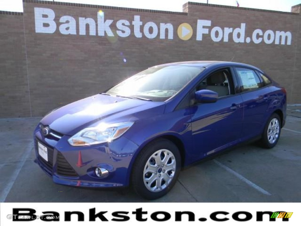 2012 Focus SE Sedan - Sonic Blue Metallic / Stone photo #1