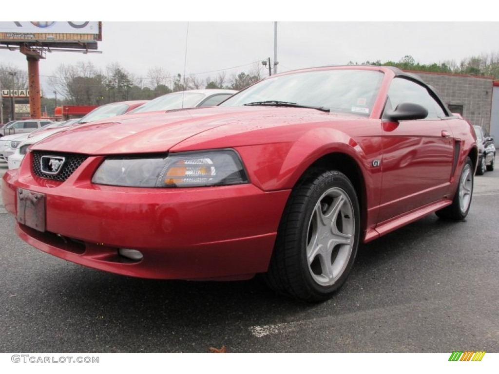 2000 Mustang GT Convertible - Laser Red Metallic / Medium Graphite photo #1
