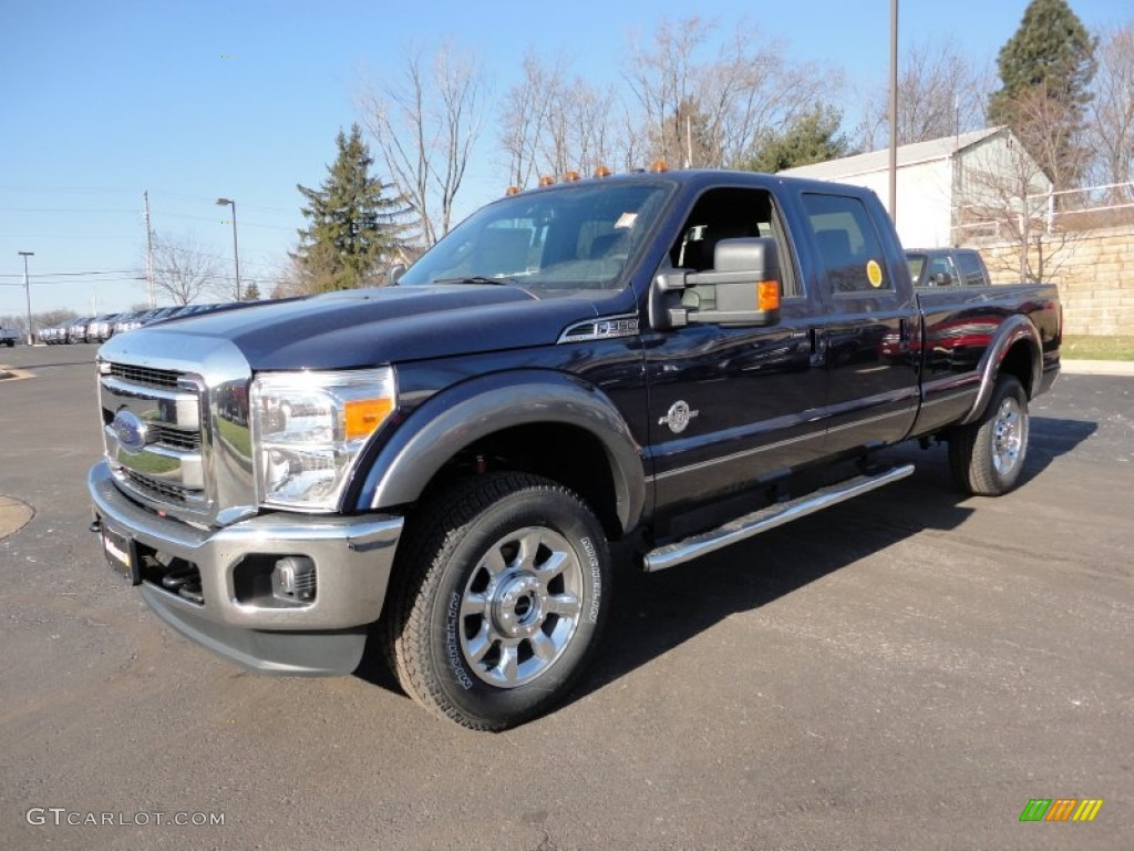 2012 dark blue pearl metallic ford f350 super duty lariat crew cab 4x4 59415297. Black Bedroom Furniture Sets. Home Design Ideas