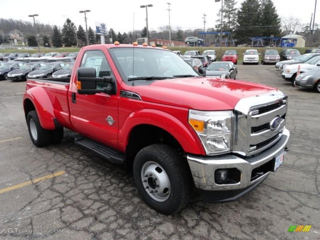 2012 vermillion red ford f350 super duty xlt regular cab 4x4 dually 59478685 photo 6
