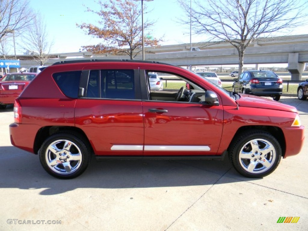 inferno red crystal pearl 2008 jeep compass limited exterior photo