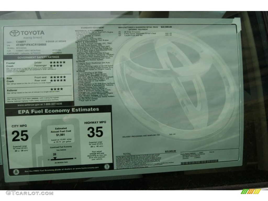 2012 Toyota Camry Le Window Sticker Photo 59615391