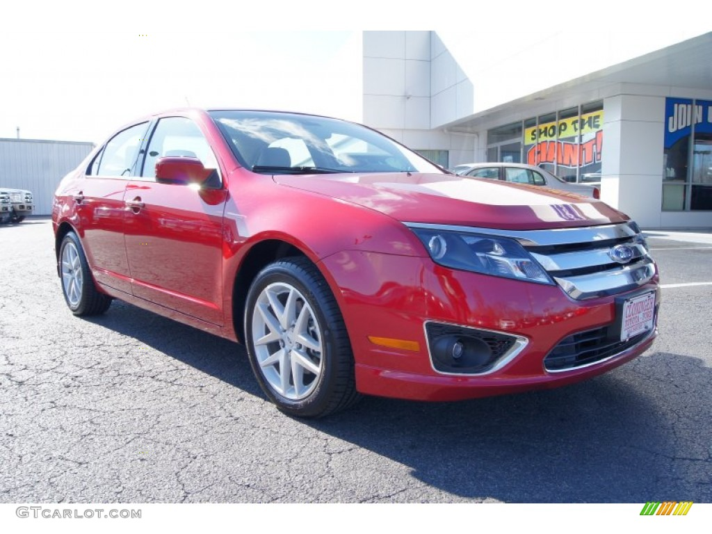 2011 Fusion SEL V6 - Red Candy Metallic / Camel photo #1