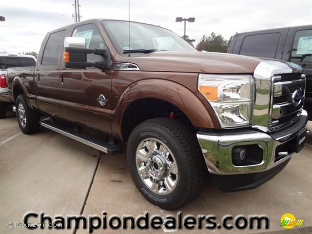 2012 F250 Super Duty Lariat Crew Cab 4x4 - Golden Bronze Metallic / Adobe photo #1