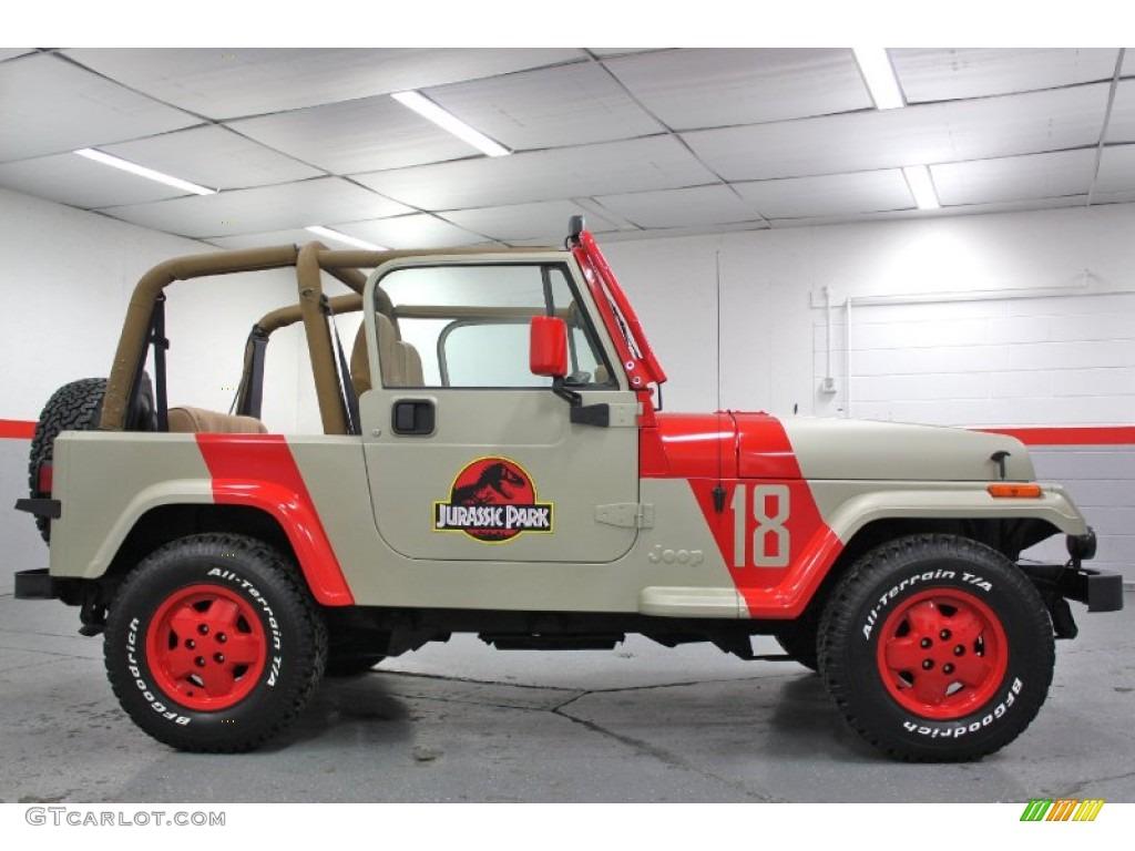 1994 jurassic park tan/red jeep wrangler se 4x4 #59689442 photo
