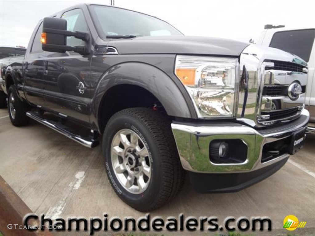 2012 F250 Super Duty Lariat Crew Cab 4x4 - Sterling Grey Metallic / Black photo #1