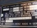 Info Tag of 1981 SL Class 380 SLC Coupe