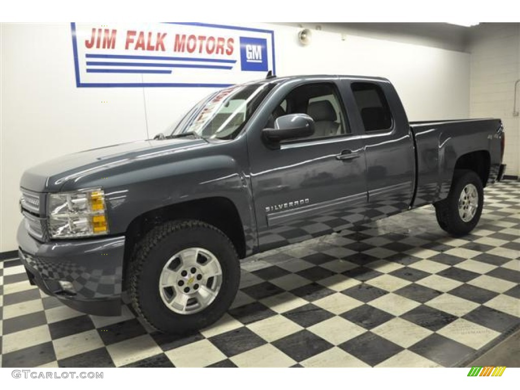 2012 Silverado 1500 LTZ Extended Cab 4x4 - Blue Granite Metallic / Light Titanium/Dark Titanium photo #1