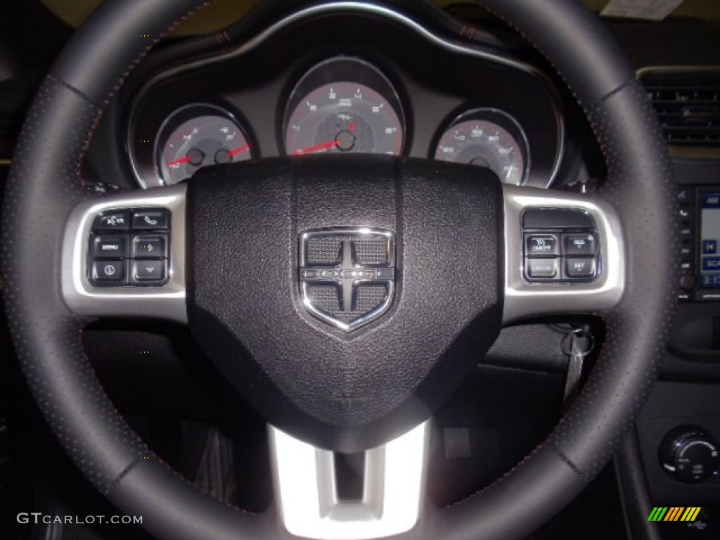 2012 Dodge Avenger RT BlackSilverRed Steering Wheel Photo