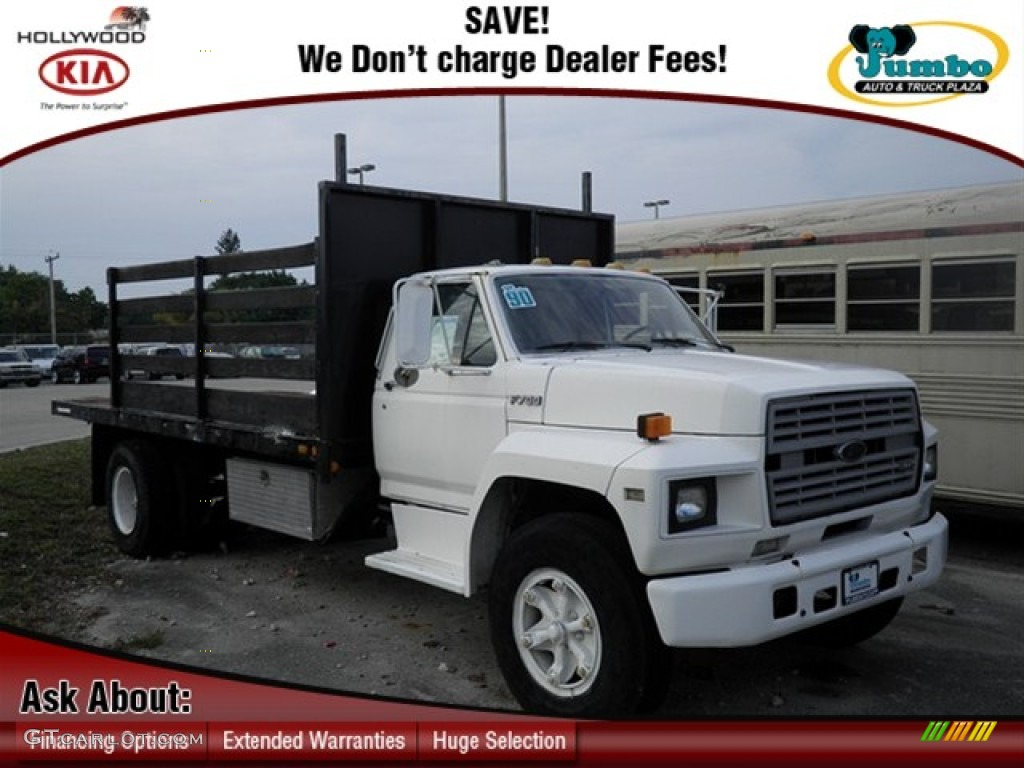similiar ford f keywords 1990 ford f700 regular cab stake truck oxford white color grey