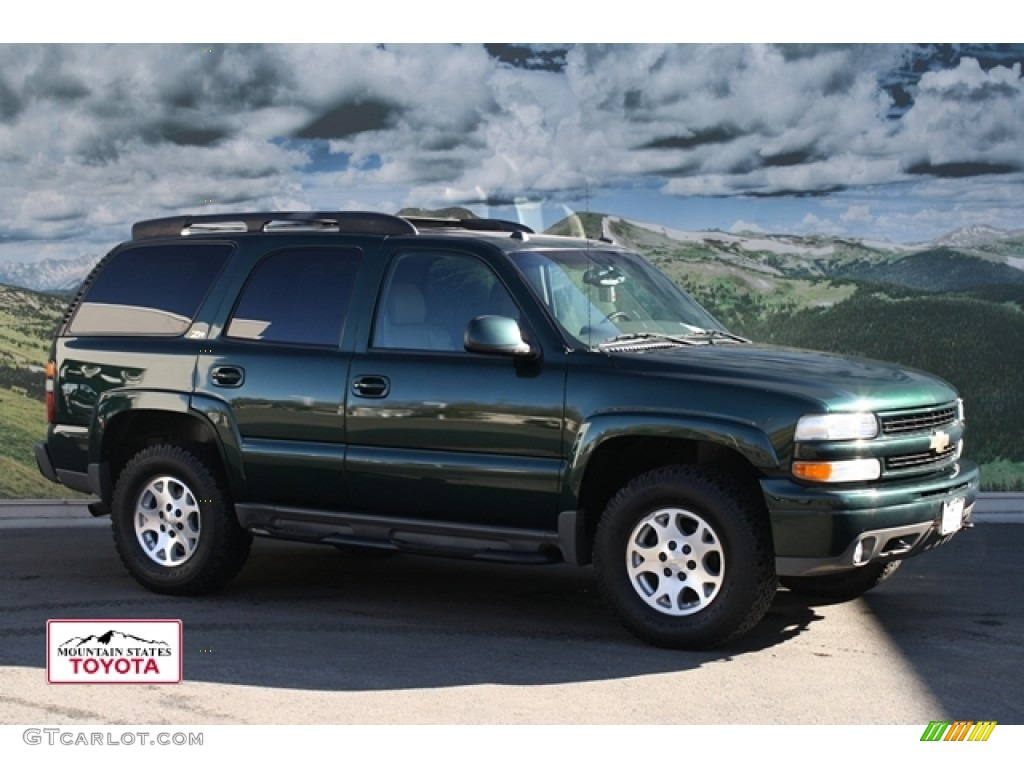 2004 tahoe z71 4x4 dark green metallic tan neutral photo 1