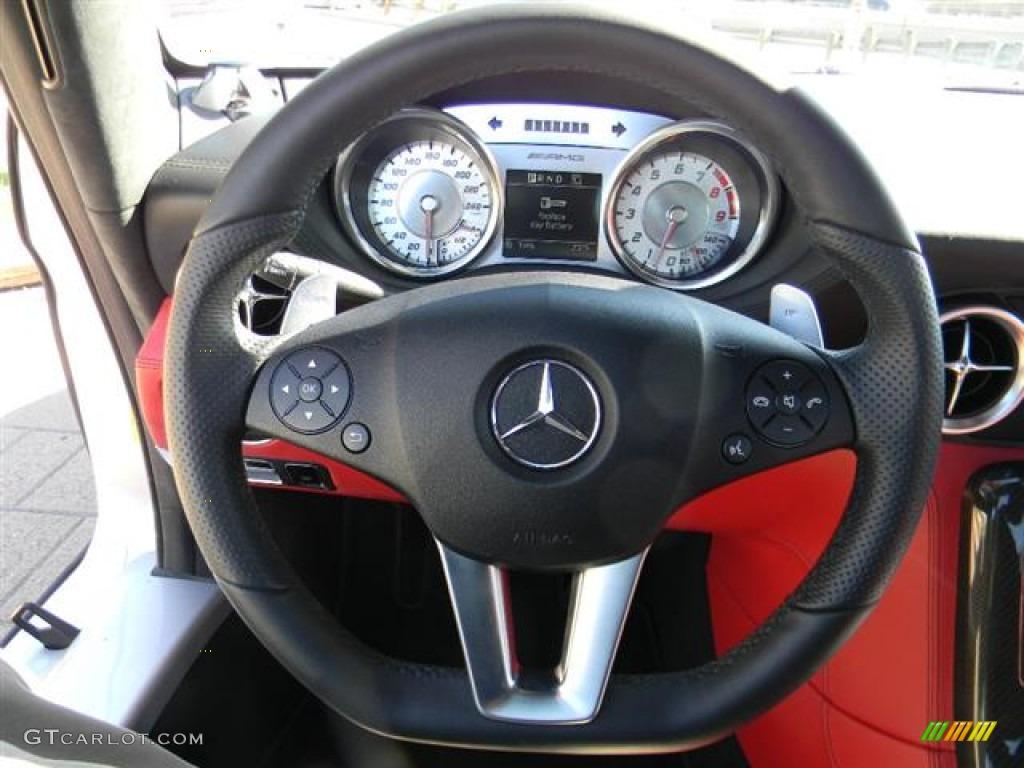 2011 mercedes benz sls amg designo classic red steering for Mercedes benz steering wheel control buttons