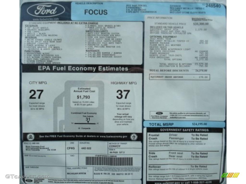 2012 Ford Focus Sel Sedan Window Sticker Photo 59966300