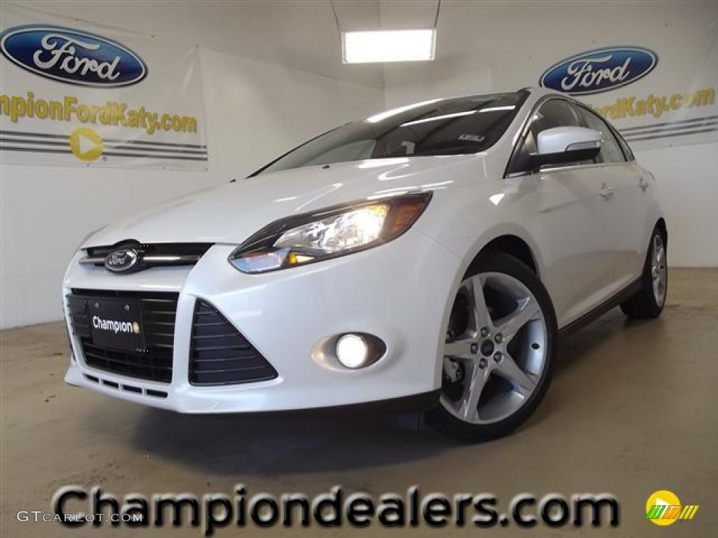 2012 Focus Titanium 5-Door - White Platinum Tricoat Metallic / Charcoal Black Leather photo #1