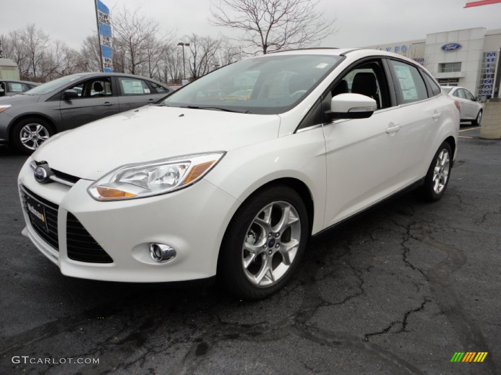 2012 Focus SEL Sedan - White Platinum Tricoat Metallic / Arctic White Leather photo #1