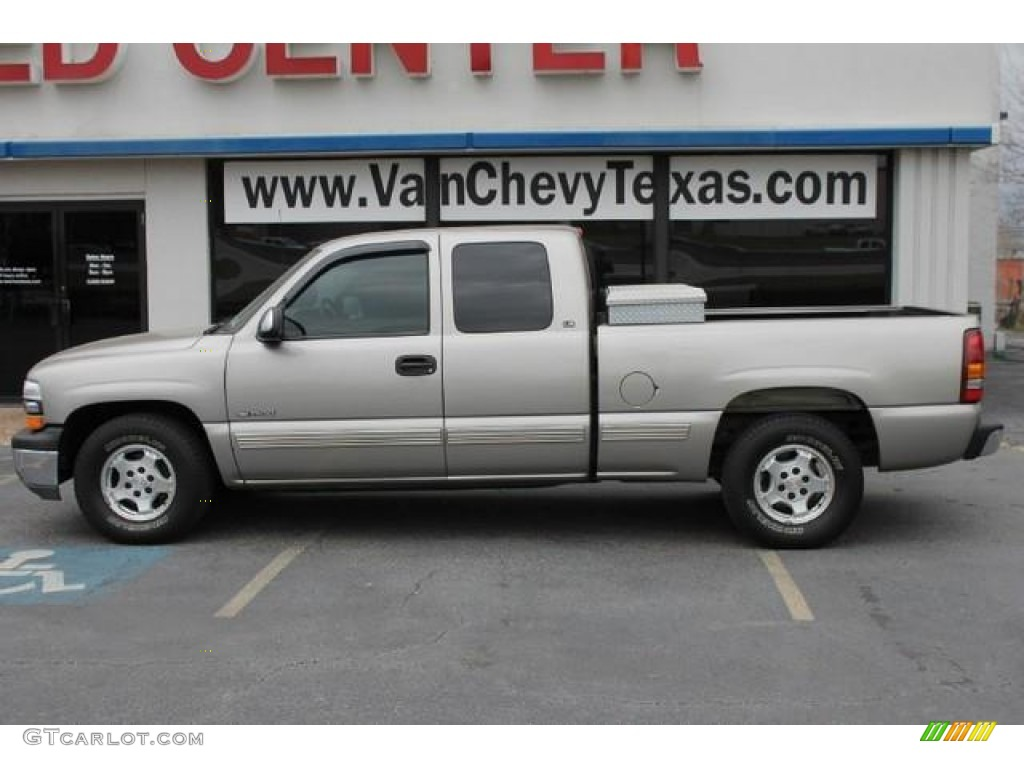 2000 Silverado 1500 LS Extended Cab - Light Pewter Metallic / Medium Gray photo #1