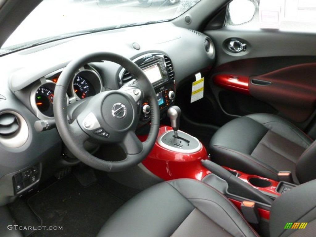 black red leather red trim interior 2012 nissan juke sl. Black Bedroom Furniture Sets. Home Design Ideas