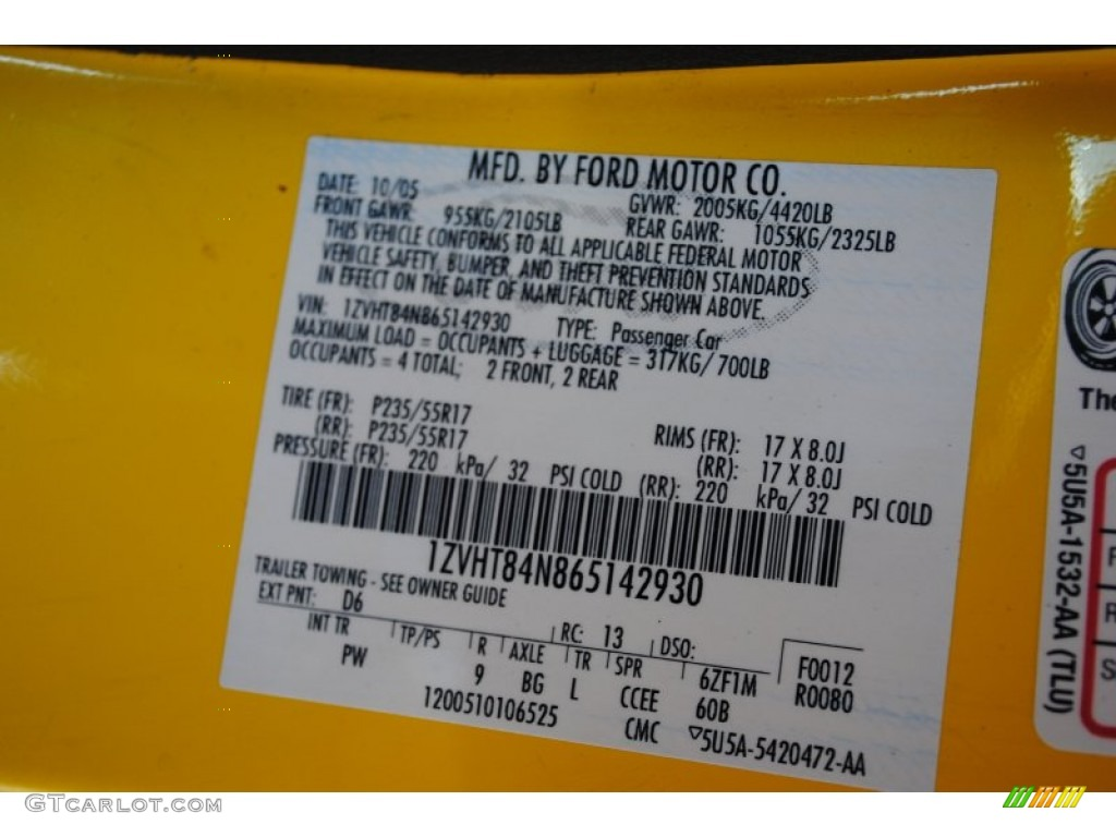 2006 Mustang Color Code D6 for Screaming Yellow Photo #60348932