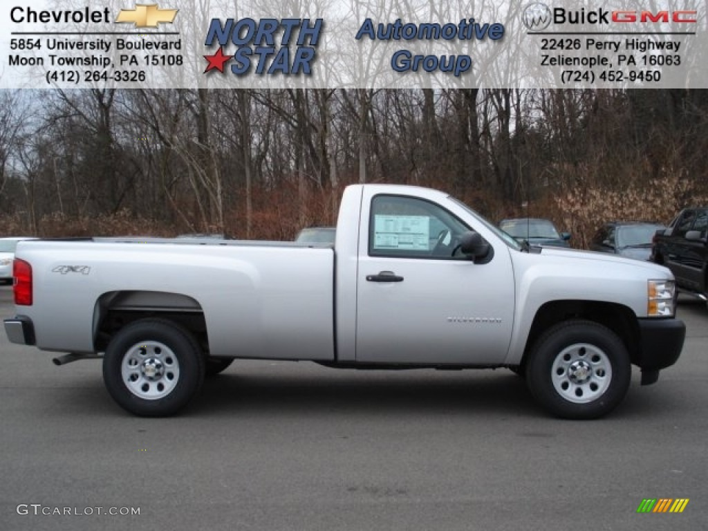 2012 Silverado 1500 Work Truck Regular Cab 4x4 - Silver Ice Metallic / Dark Titanium photo #1