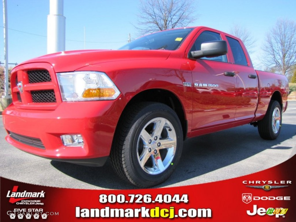 2012 Ram 1500 Express Quad Cab - Flame Red / Dark Slate Gray/Medium Graystone photo #1