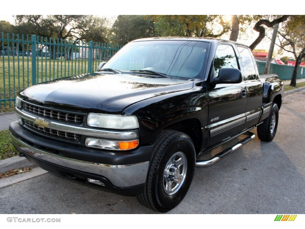 2000 Silverado 1500 LS Extended Cab 4x4 - Onyx Black / Graphite photo #1