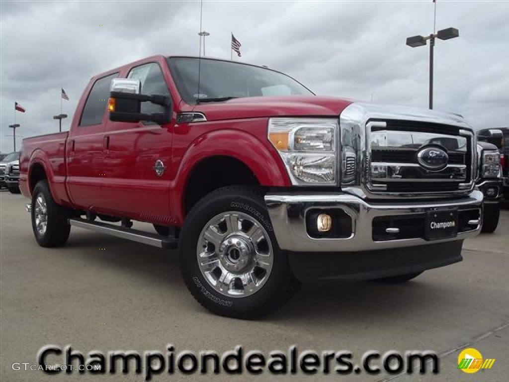 2012 vermillion red ford f250 super duty lariat crew cab 4x4 60444968 car. Black Bedroom Furniture Sets. Home Design Ideas