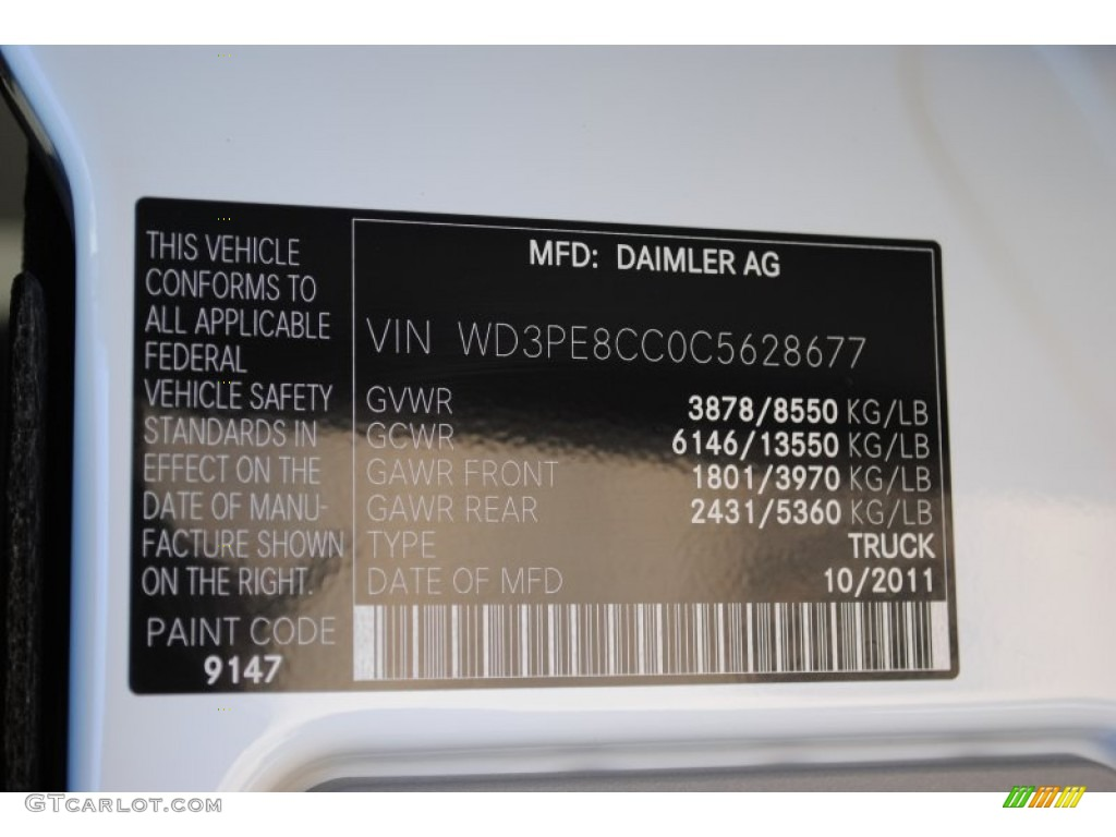 2012 sprinter color code 9147 for arctic white photo for Mercedes benz color codes
