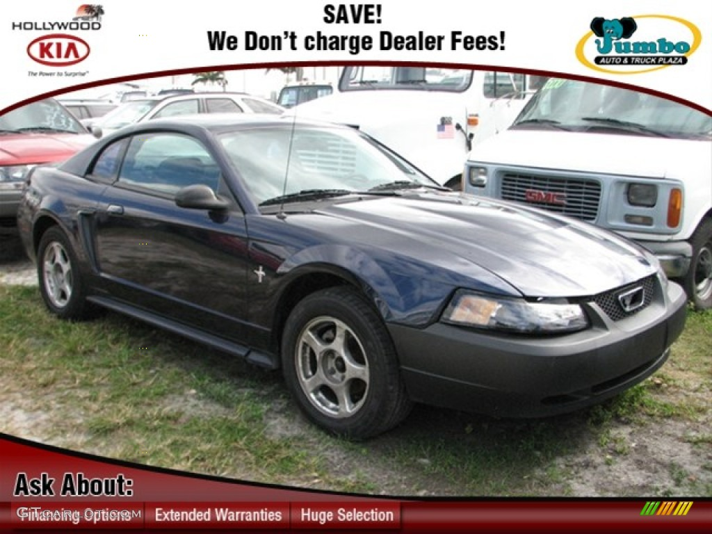 2003 Mustang V6 Coupe - True Blue Metallic / Dark Charcoal photo #1