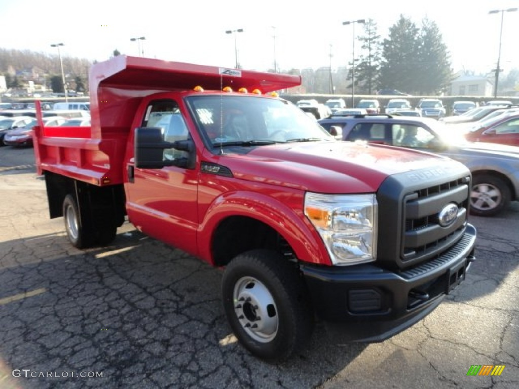 Vermillion Red 2012 Ford F350 Super Duty XL Regular Cab 4x4 Dump Truck Exterior Photo