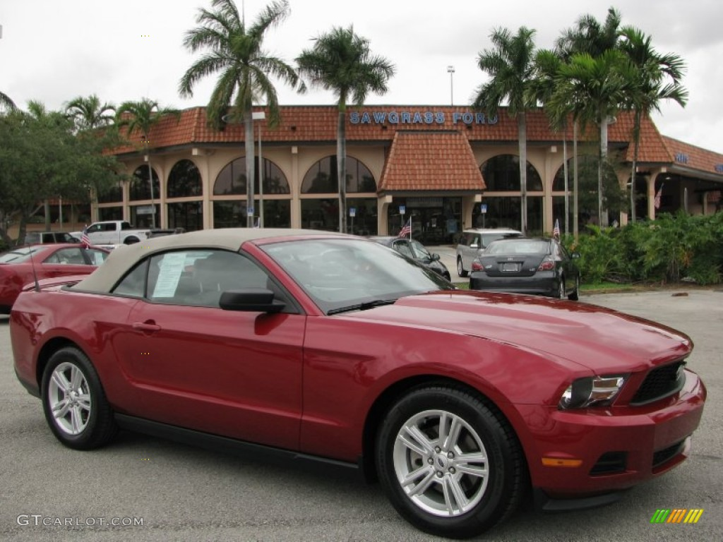 2011 Mustang V6 Convertible - Red Candy Metallic / Stone photo #1