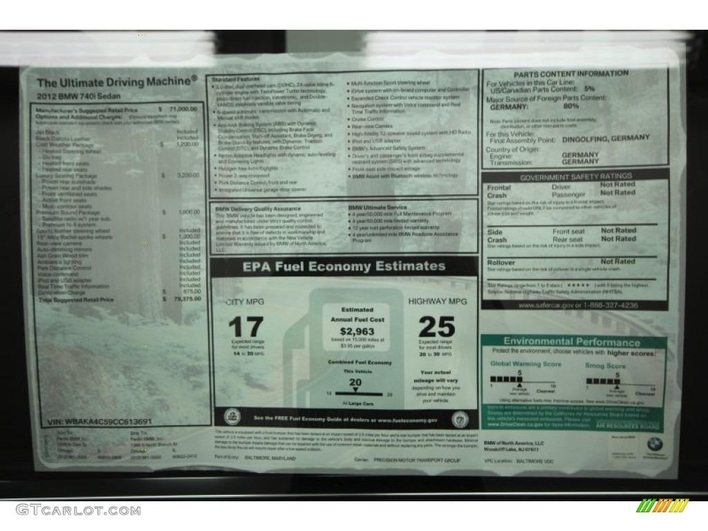 2012 BMW 7 Series 740i Sedan Window Sticker Photos ...