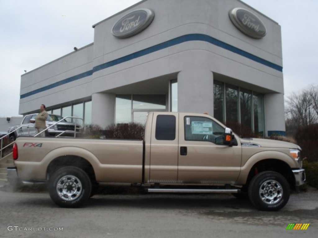 2012 F250 Super Duty XLT SuperCab 4x4 - Pale Adobe Metallic / Adobe photo #1