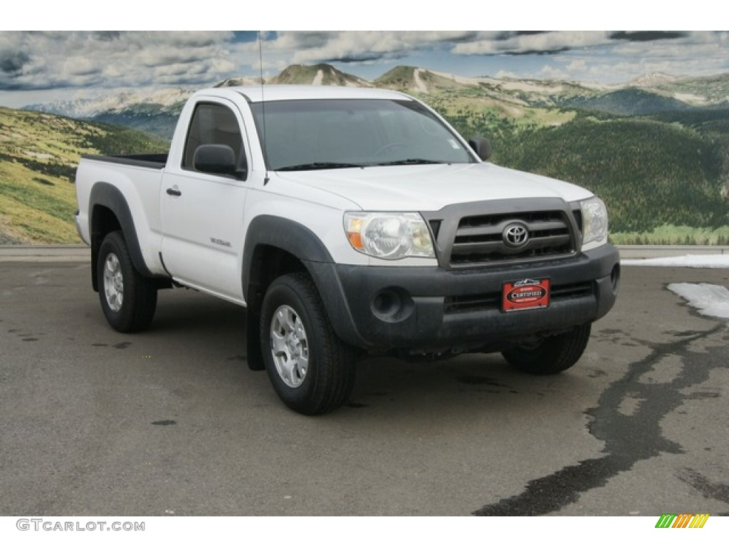 2009 super white toyota tacoma regular cab 4x4 60696051 car color galleries. Black Bedroom Furniture Sets. Home Design Ideas