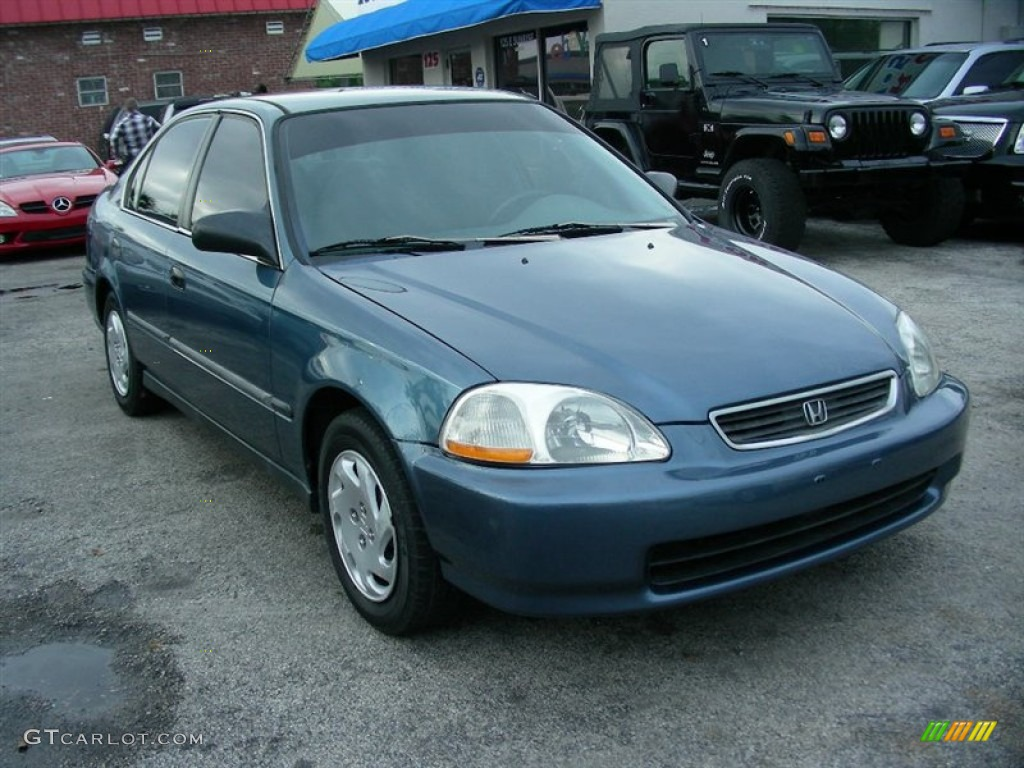 1996 Civic LX Sedan   Cyclone Blue Metallic / Gray Photo #2