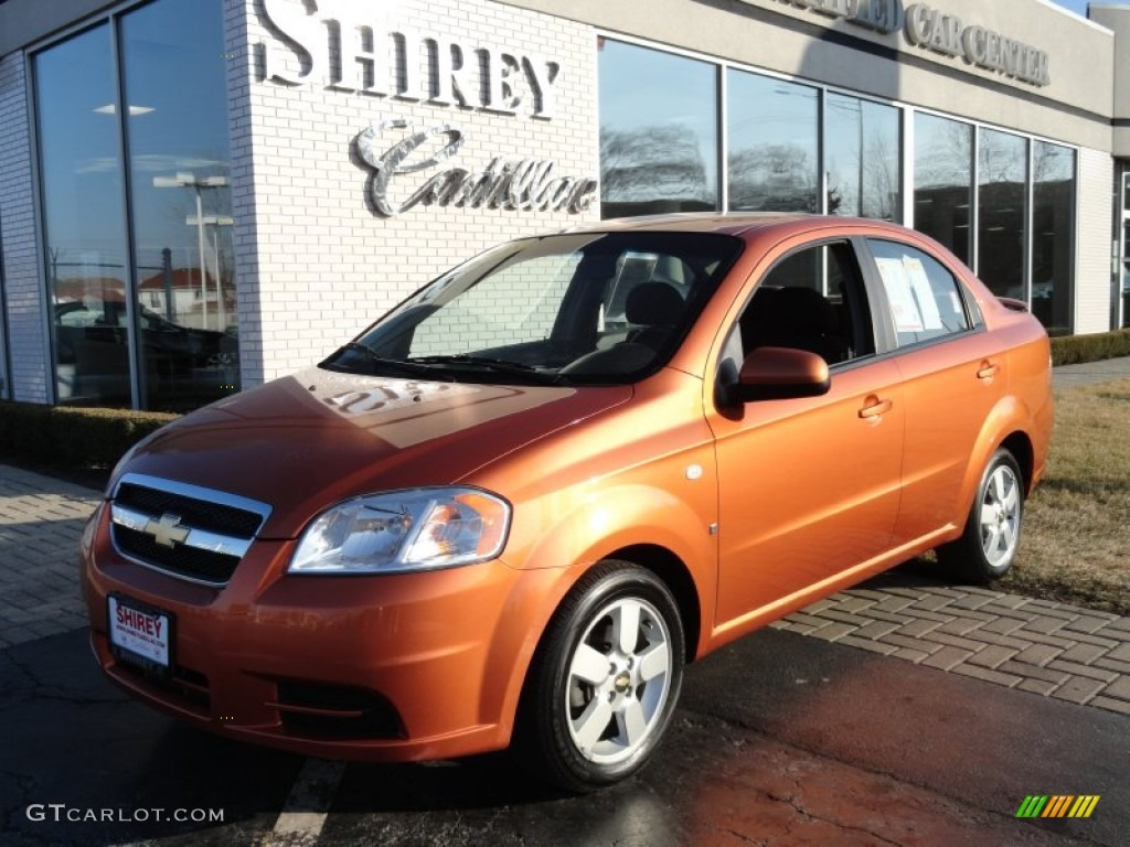 2008 Spicy Orange Metallic Chevrolet Aveo Ls Sedan