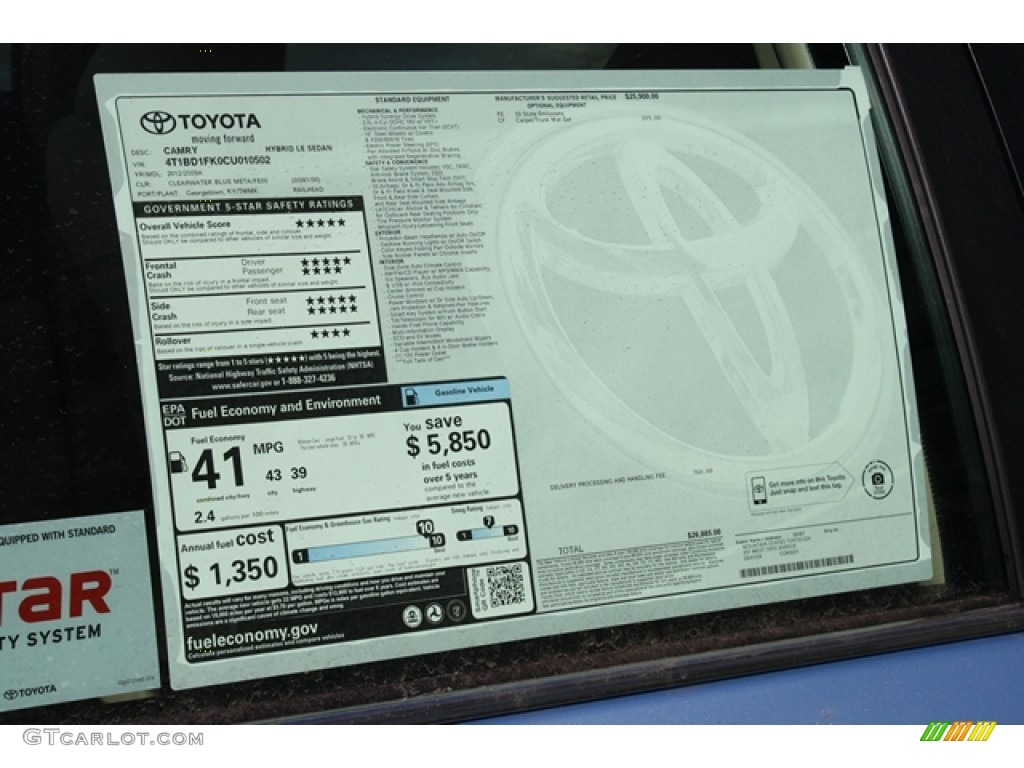 2012 Toyota Camry Hybrid LE Window Sticker Photo #60924470 ...