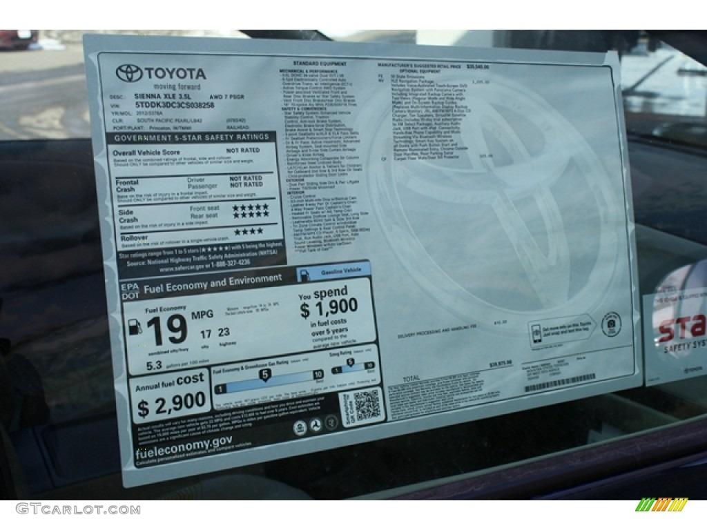 2012 Toyota Sienna Xle Awd Window Sticker Photos