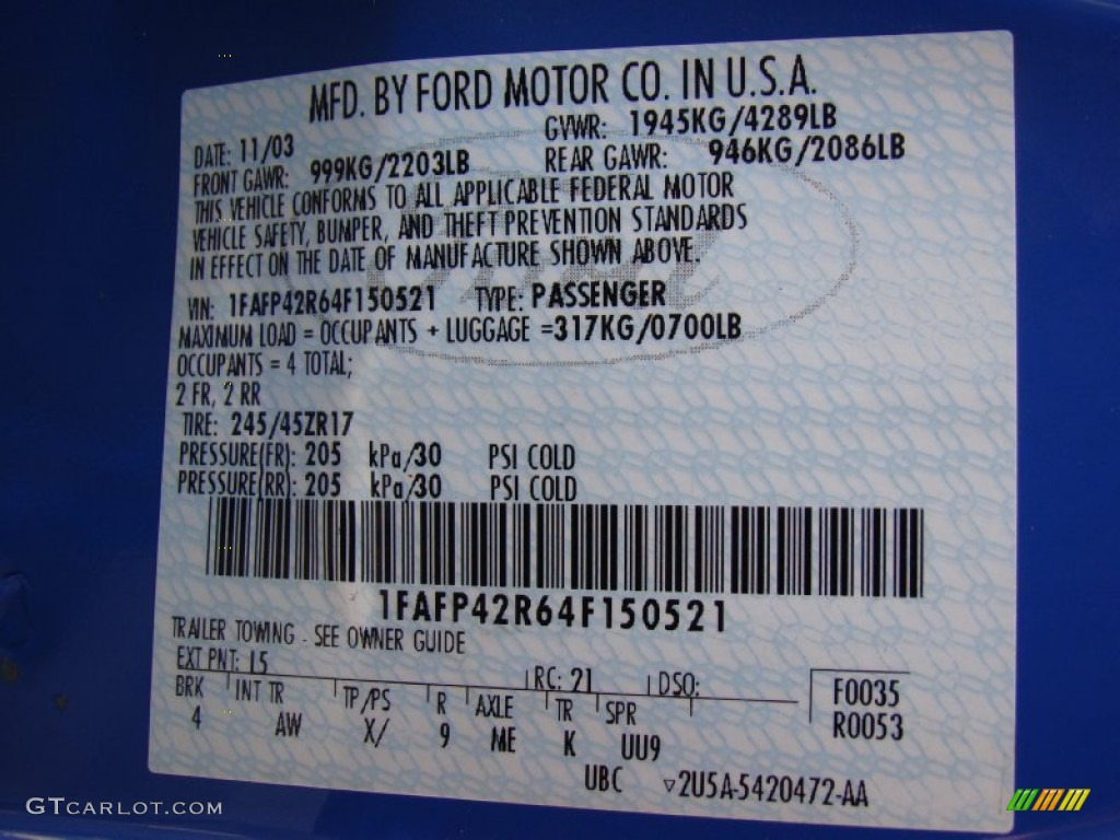 2004 Mustang Color Code I5 For Azure Blue Photo 61230109