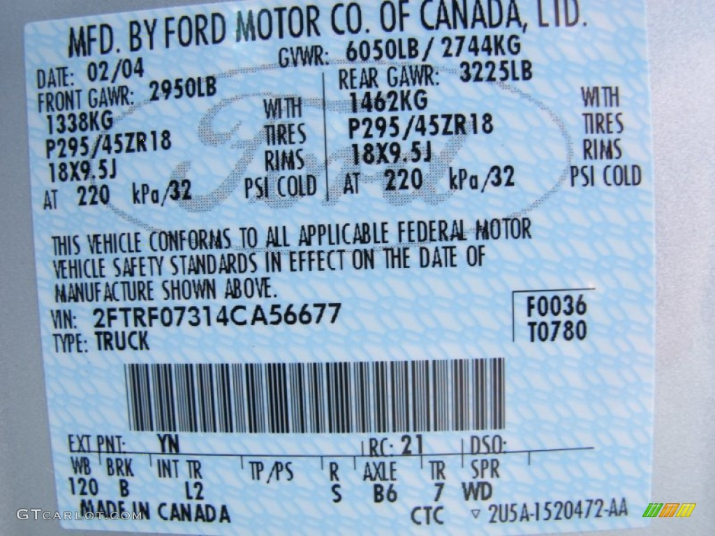 2004 Ford F150 Svt Lightning Color Code Photos Gtcarlot Com