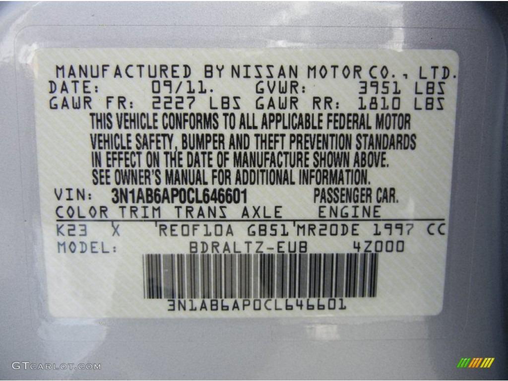 2012 Nissan Sentra 2 0 Sr Special Edition Color Code